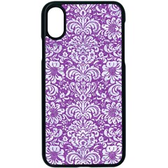 Damask2 White Marble & Purple Denim Apple Iphone X Seamless Case (black) by trendistuff