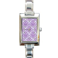 DAMASK1 WHITE MARBLE & PURPLE DENIM (R) Rectangle Italian Charm Watch