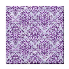 DAMASK1 WHITE MARBLE & PURPLE DENIM (R) Tile Coasters