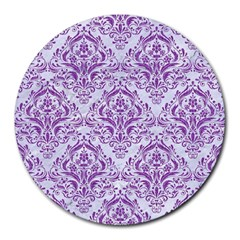 DAMASK1 WHITE MARBLE & PURPLE DENIM (R) Round Mousepads