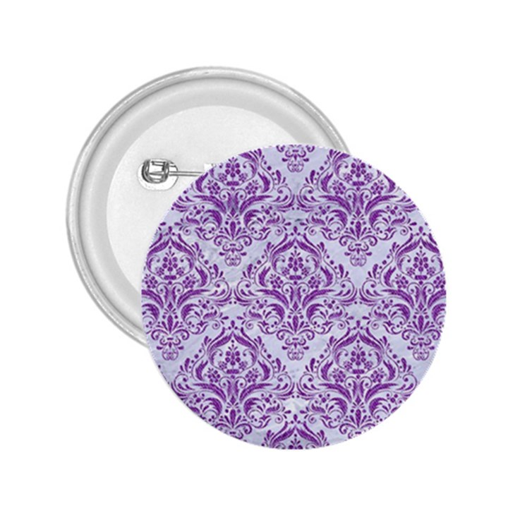 DAMASK1 WHITE MARBLE & PURPLE DENIM (R) 2.25  Buttons