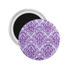 Damask1 White Marble & Purple Denim (r) 2 25  Magnets