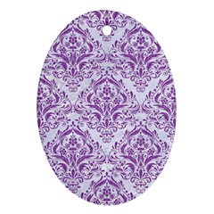 Damask1 White Marble & Purple Denim (r) Ornament (oval) by trendistuff