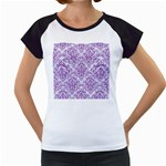 DAMASK1 WHITE MARBLE & PURPLE DENIM (R) Women s Cap Sleeve T Front