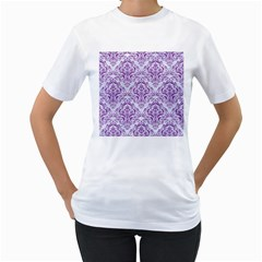 DAMASK1 WHITE MARBLE & PURPLE DENIM (R) Women s T-Shirt (White) (Two Sided)
