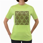 DAMASK1 WHITE MARBLE & PURPLE DENIM (R) Women s Green T-Shirt Front