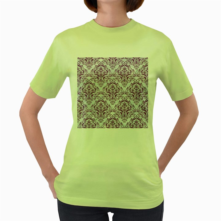 DAMASK1 WHITE MARBLE & PURPLE DENIM (R) Women s Green T-Shirt