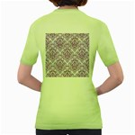 DAMASK1 WHITE MARBLE & PURPLE DENIM (R) Women s Green T-Shirt Back