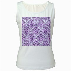 Damask1 White Marble & Purple Denim (r) Women s White Tank Top