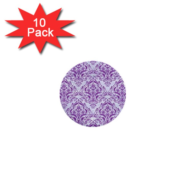 DAMASK1 WHITE MARBLE & PURPLE DENIM (R) 1  Mini Buttons (10 pack)