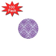 DAMASK1 WHITE MARBLE & PURPLE DENIM (R) 1  Mini Buttons (100 pack)