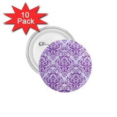 DAMASK1 WHITE MARBLE & PURPLE DENIM (R) 1.75  Buttons (10 pack)