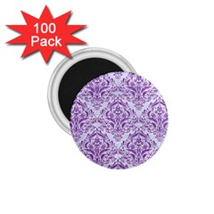 Damask1 White Marble & Purple Denim (r) 1 75  Magnets (100 Pack)  by trendistuff