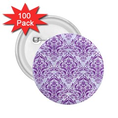 DAMASK1 WHITE MARBLE & PURPLE DENIM (R) 2.25  Buttons (100 pack)
