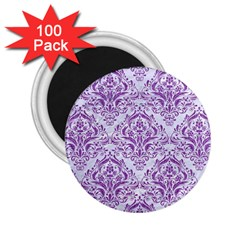 Damask1 White Marble & Purple Denim (r) 2 25  Magnets (100 Pack)  by trendistuff