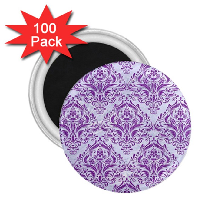 DAMASK1 WHITE MARBLE & PURPLE DENIM (R) 2.25  Magnets (100 pack)