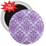 DAMASK1 WHITE MARBLE & PURPLE DENIM (R) 3  Magnets (10 pack)  Front