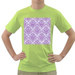 DAMASK1 WHITE MARBLE & PURPLE DENIM (R) Green T-Shirt Front