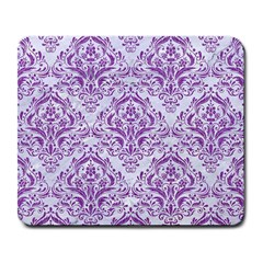 Damask1 White Marble & Purple Denim (r) Large Mousepads by trendistuff
