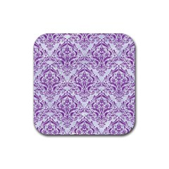 DAMASK1 WHITE MARBLE & PURPLE DENIM (R) Rubber Square Coaster (4 pack)