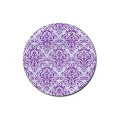 DAMASK1 WHITE MARBLE & PURPLE DENIM (R) Rubber Round Coaster (4 pack)