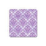 DAMASK1 WHITE MARBLE & PURPLE DENIM (R) Square Magnet Front