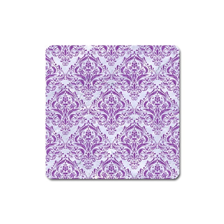 DAMASK1 WHITE MARBLE & PURPLE DENIM (R) Square Magnet