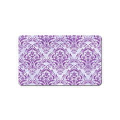 Damask1 White Marble & Purple Denim (r) Magnet (name Card) by trendistuff