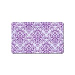 DAMASK1 WHITE MARBLE & PURPLE DENIM (R) Magnet (Name Card) Front