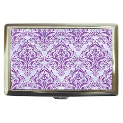 Damask1 White Marble & Purple Denim (r) Cigarette Money Cases