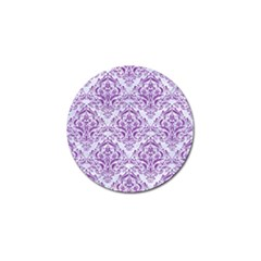 Damask1 White Marble & Purple Denim (r) Golf Ball Marker (4 Pack) by trendistuff