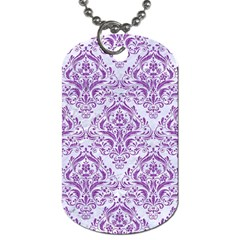 DAMASK1 WHITE MARBLE & PURPLE DENIM (R) Dog Tag (Two Sides)