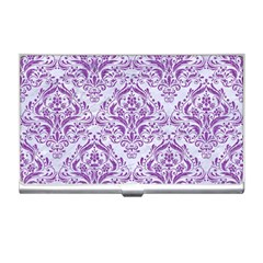 DAMASK1 WHITE MARBLE & PURPLE DENIM (R) Business Card Holders