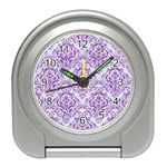 DAMASK1 WHITE MARBLE & PURPLE DENIM (R) Travel Alarm Clocks Front