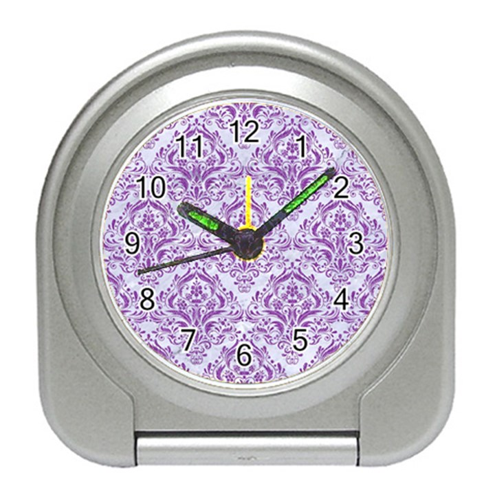 DAMASK1 WHITE MARBLE & PURPLE DENIM (R) Travel Alarm Clocks