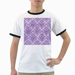 Damask1 White Marble & Purple Denim (r) Ringer T Shirts