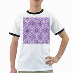 DAMASK1 WHITE MARBLE & PURPLE DENIM (R) Ringer T-Shirts Front