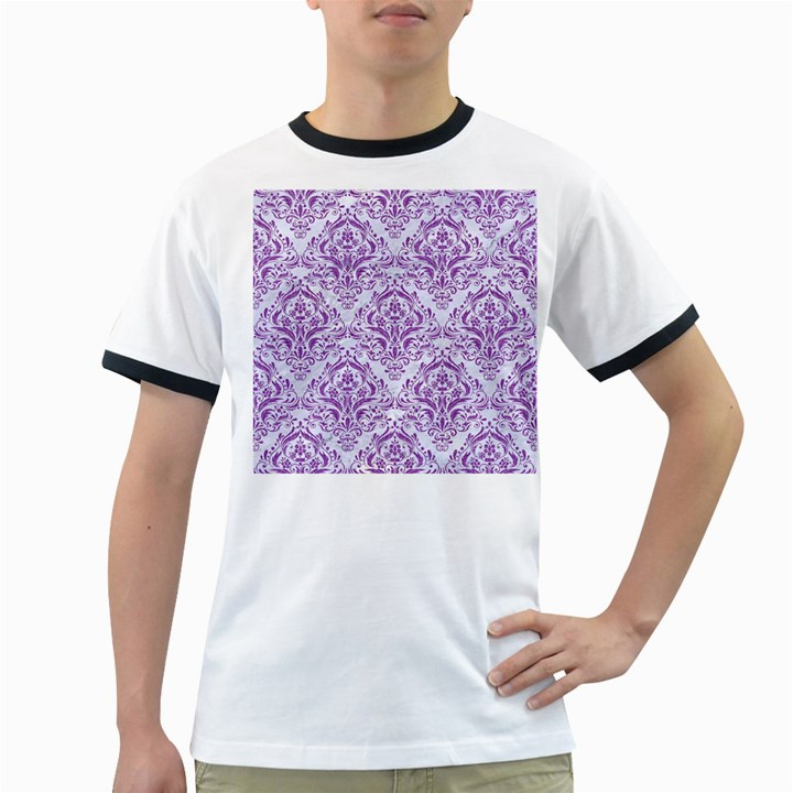 DAMASK1 WHITE MARBLE & PURPLE DENIM (R) Ringer T-Shirts