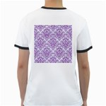 DAMASK1 WHITE MARBLE & PURPLE DENIM (R) Ringer T-Shirts Back
