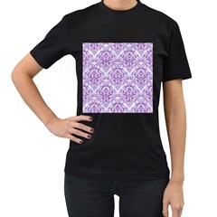 DAMASK1 WHITE MARBLE & PURPLE DENIM (R) Women s T-Shirt (Black) (Two Sided)