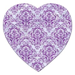 DAMASK1 WHITE MARBLE & PURPLE DENIM (R) Jigsaw Puzzle (Heart)