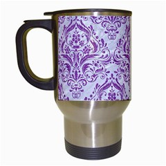Damask1 White Marble & Purple Denim (r) Travel Mugs (white) by trendistuff