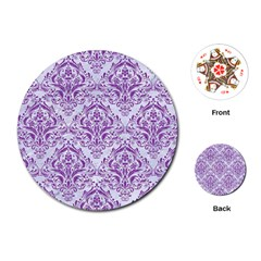 DAMASK1 WHITE MARBLE & PURPLE DENIM (R) Playing Cards (Round)