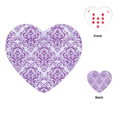 Damask1 White Marble & Purple Denim (r) Playing Cards (heart)