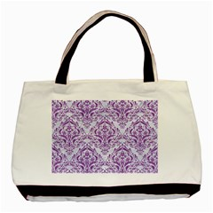Damask1 White Marble & Purple Denim (r) Basic Tote Bag by trendistuff