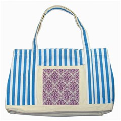 Damask1 White Marble & Purple Denim (r) Striped Blue Tote Bag by trendistuff
