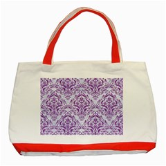 DAMASK1 WHITE MARBLE & PURPLE DENIM (R) Classic Tote Bag (Red)