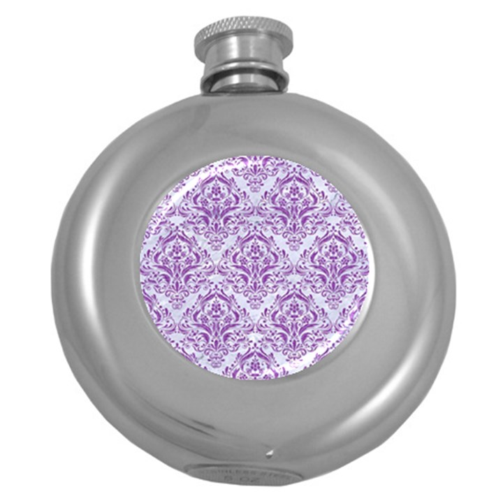 DAMASK1 WHITE MARBLE & PURPLE DENIM (R) Round Hip Flask (5 oz)