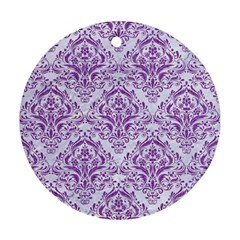 DAMASK1 WHITE MARBLE & PURPLE DENIM (R) Round Ornament (Two Sides)