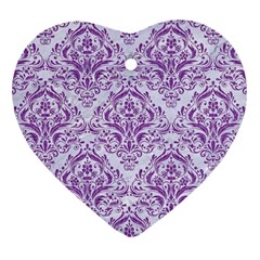 DAMASK1 WHITE MARBLE & PURPLE DENIM (R) Heart Ornament (Two Sides)